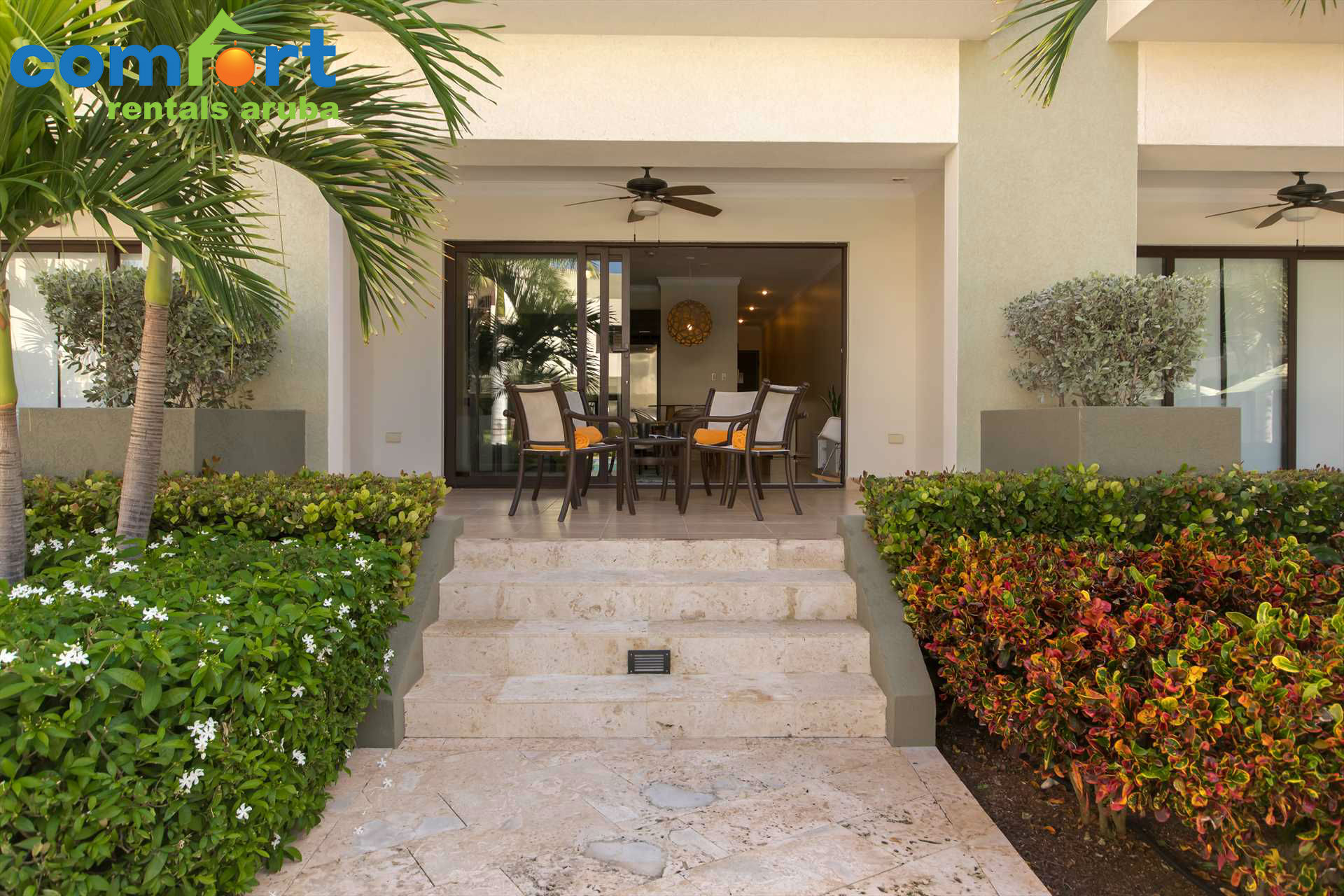 Your terrace just steps from the pool